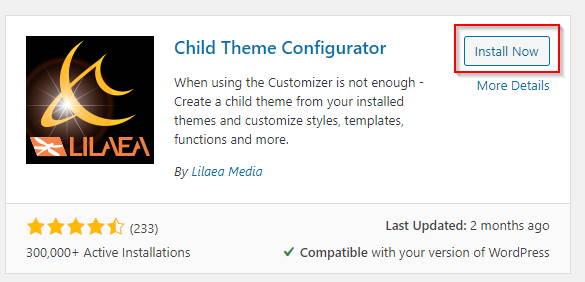 Child theme Configurator installation
