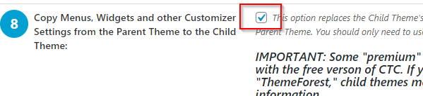 Copy parent themes customizations