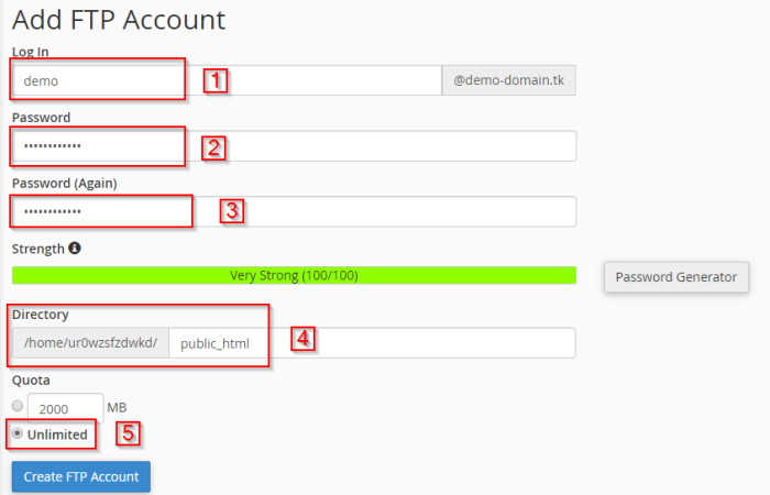 FTP account creation on hosting