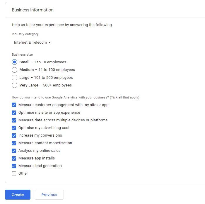 Google Analytics Business Information