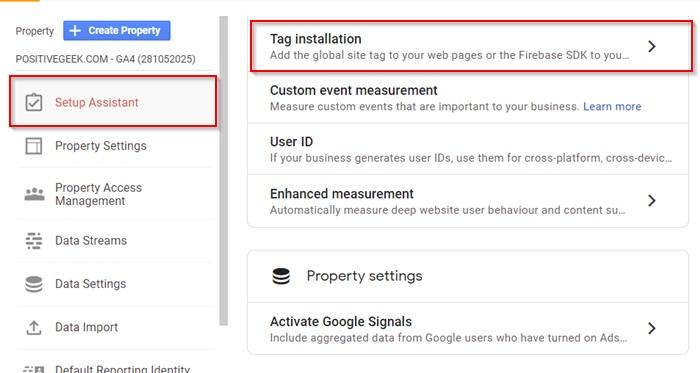 Google Analytics Tag Installation