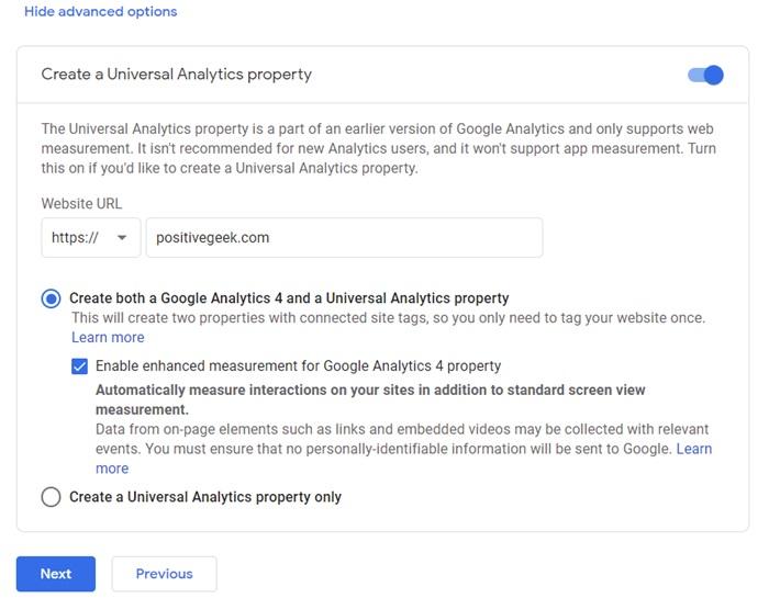 Google Analytics Universal Property Creation
