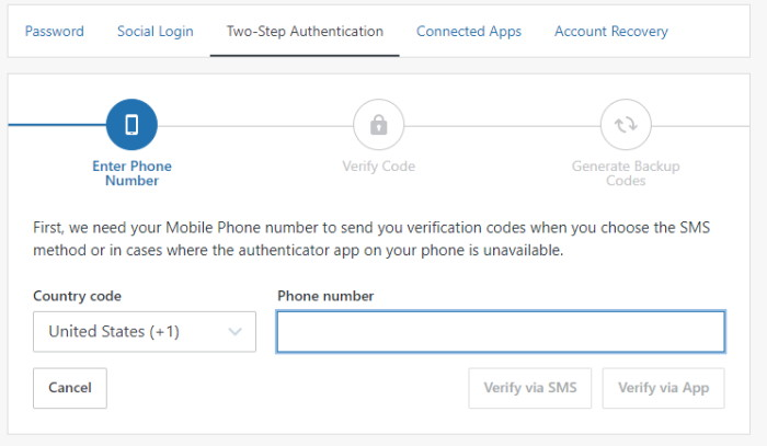 Jetpack two step mobile number verification