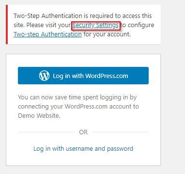 wordpress two step verification configure