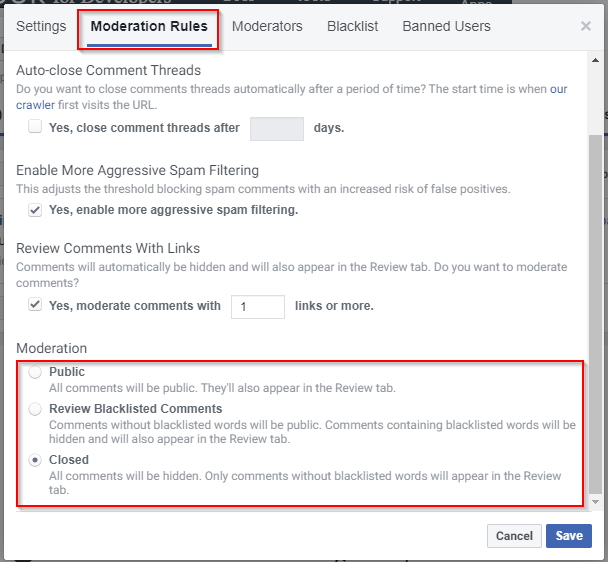 Facebook comment moderation settings