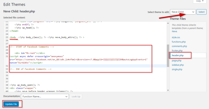 Facebook comments paste code 1 to header