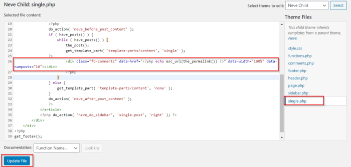 Facebook comments paste code 2 to single php