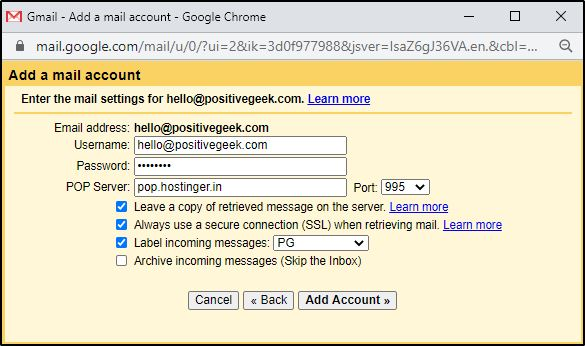 Gmail Chek mail from other accounts settings 4