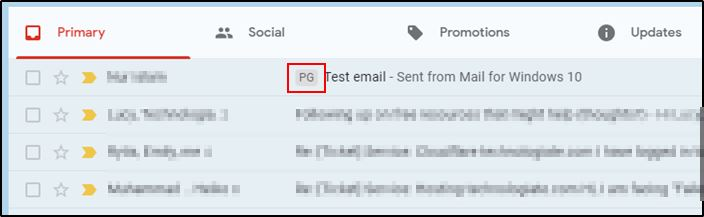 Gmail inbox tag applied for custom mail accounts.
