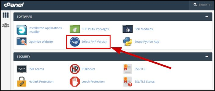 Select PHP version in GoDaddy cpanel