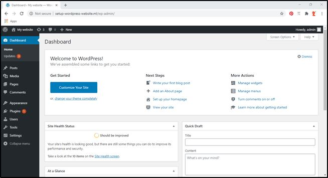 WordPress admin dashboard screen