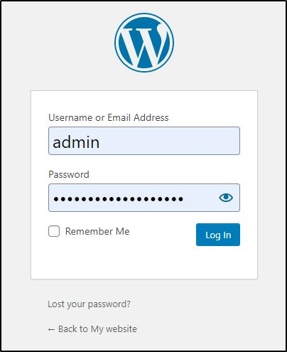 WordPress admin log in screen