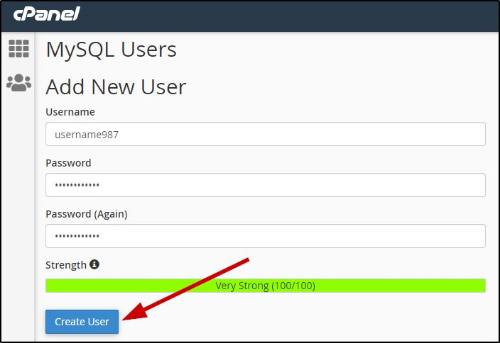 Create a new user for MySQL Database