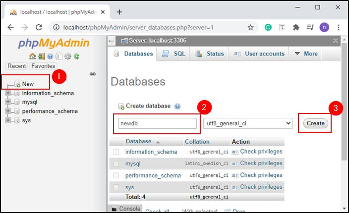 Create new database on phpMyAdmin for MAMP
