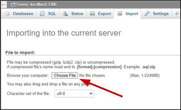 Import database option on phpMyAdmin