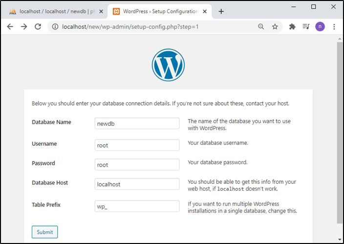 WordPress database configuration on MAMP