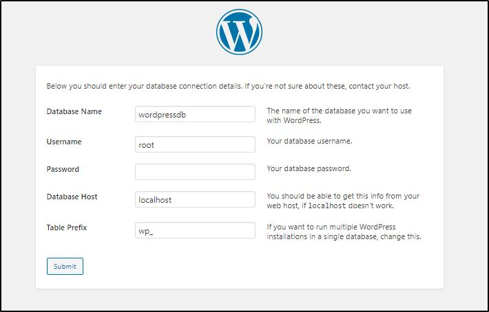 WordPress database configuration on local computer for WAMP Server