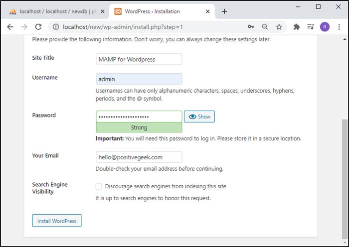 WordPress installtion on MAMP local step 3