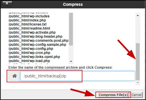 cPanel Files backup name