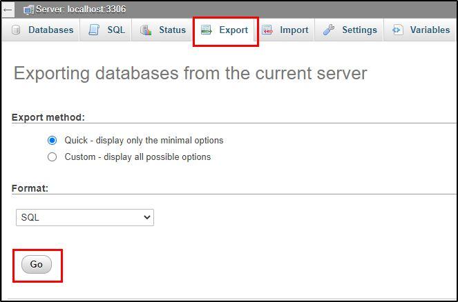 phpMyAdmin database export option