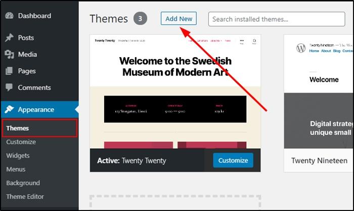 Add A New Theme To Wordpress