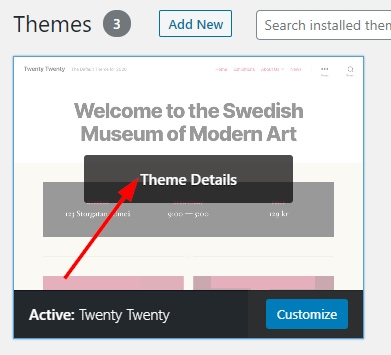 See theme details under themes on WordPress dashboard