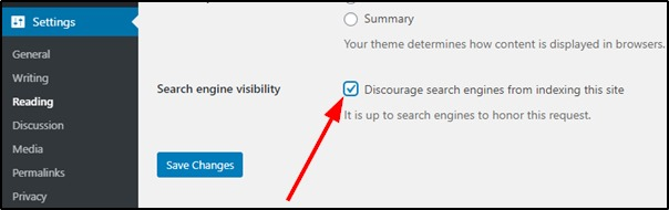 WordPress discourage search engine visibility