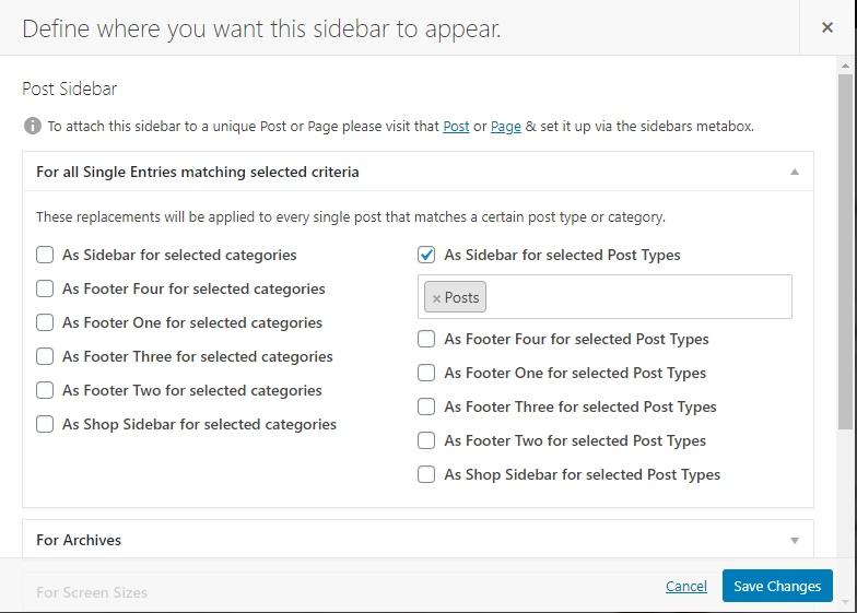Display custom sidebar on posts on WordPress