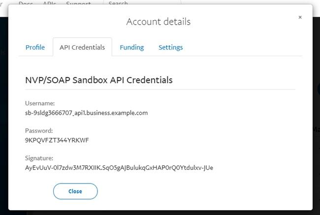 Get Paypal Sandbox API Credentials (Username, Password, Signature)