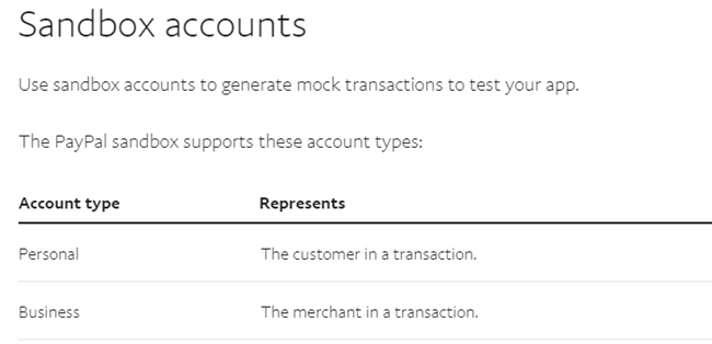 PayPal Sandbox account types