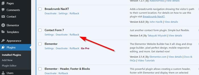 Rollback Wordpress Plugin Version Using Wp Rollback
