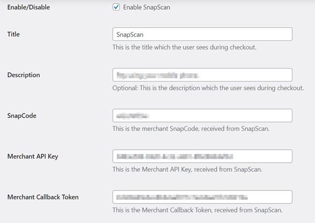 Snapscan Plugin Configuration