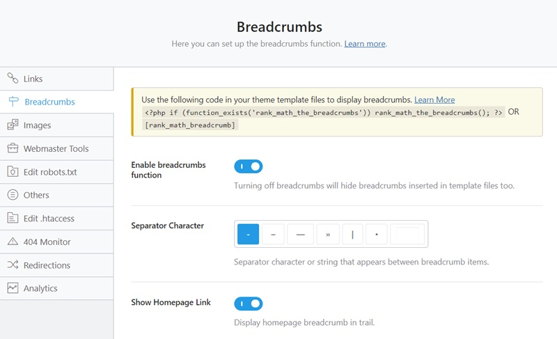 Rank Math Seo Breadcrumbs Configuration