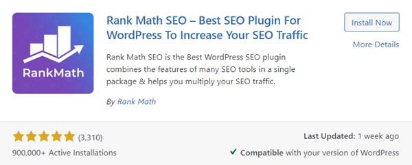 Rank Math Seo Plugin On The Plugin Page
