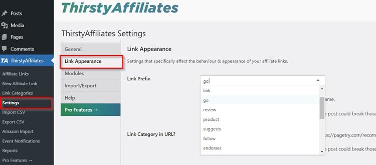 Thirstyaffiliates Link Prefix Settings